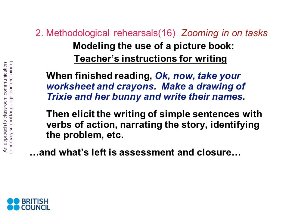 Modeling the use of a picture book: Teacher's instructions for writing