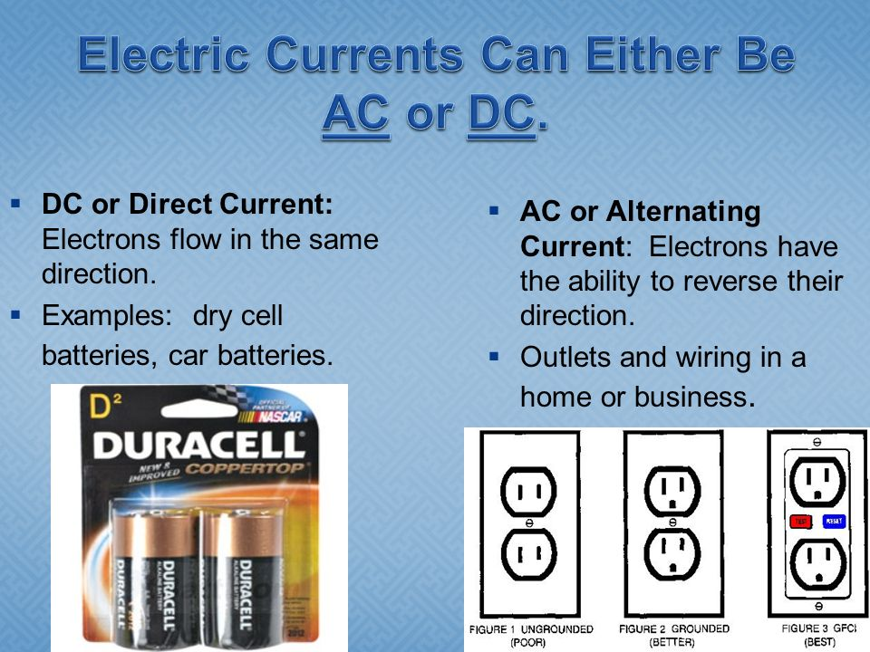 Electric Currents Can Either Be AC or DC.