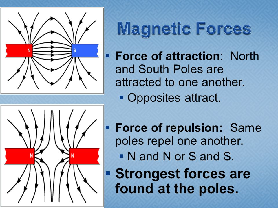 Magnetic Forces Strongest forces are found at the poles.