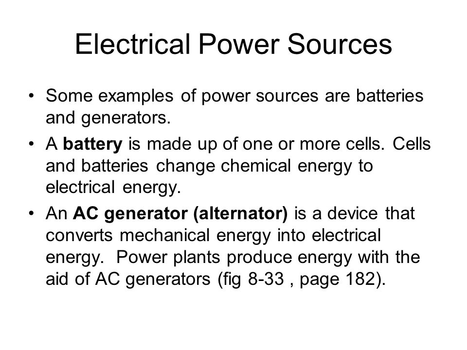 Electrical Power Sources