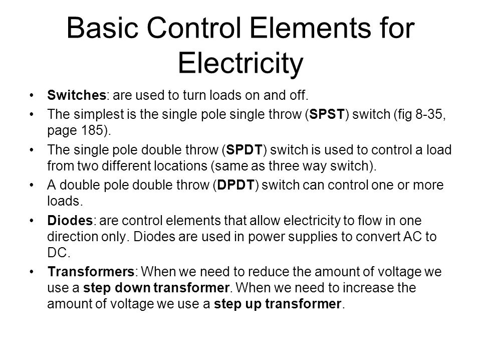 Basic Control Elements for Electricity