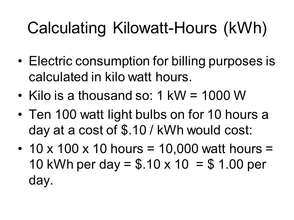 Calculating Kilowatt-Hours (kWh)