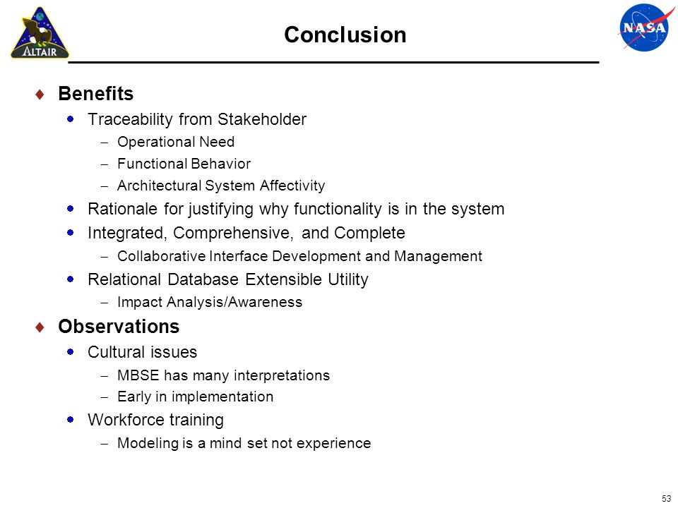 Conclusion Benefits Observations Traceability from Stakeholder