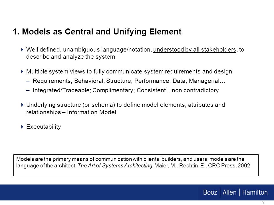 1. Models as Central and Unifying Element
