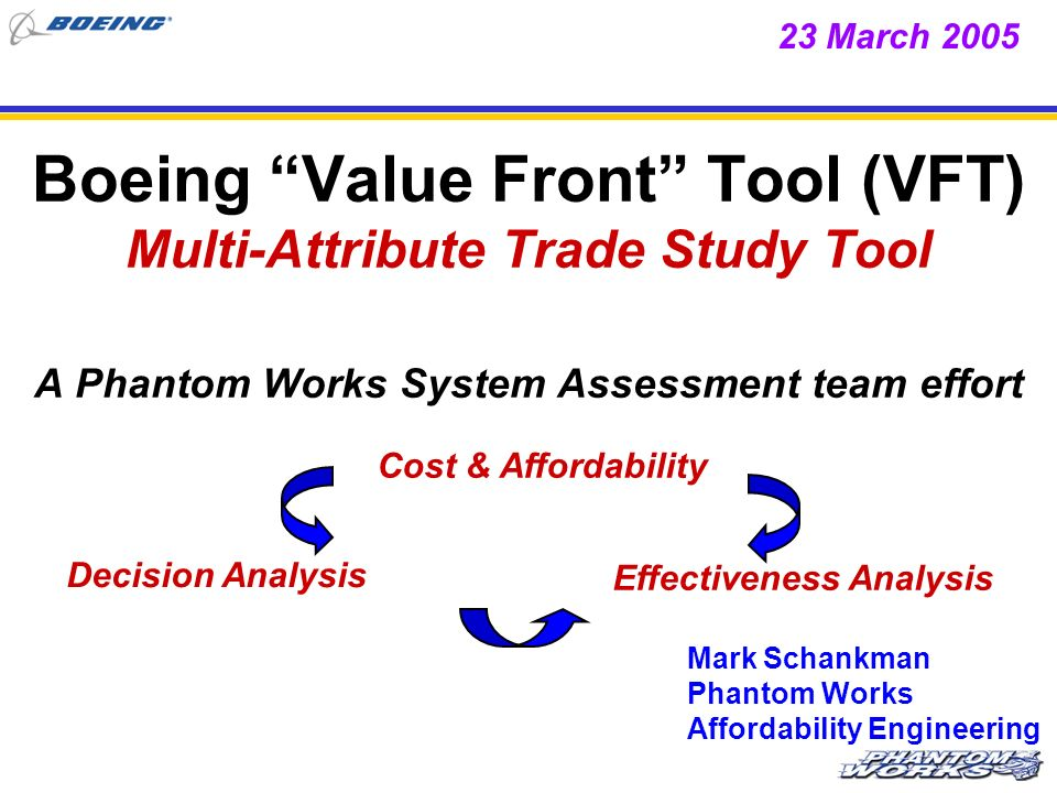 23 March 2005 Boeing Value Front Tool (VFT) Multi-Attribute Trade Study Tool A Phantom Works System Assessment team effort.