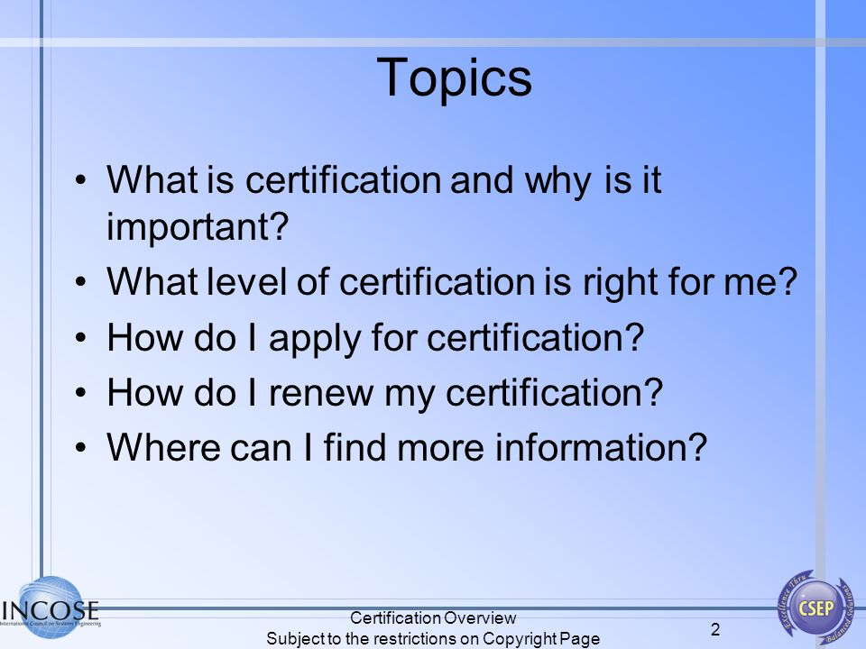 INCOSE Certification Overview - ppt download