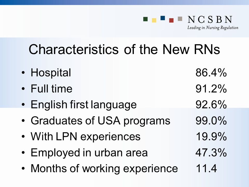 Characteristics of the New RNs