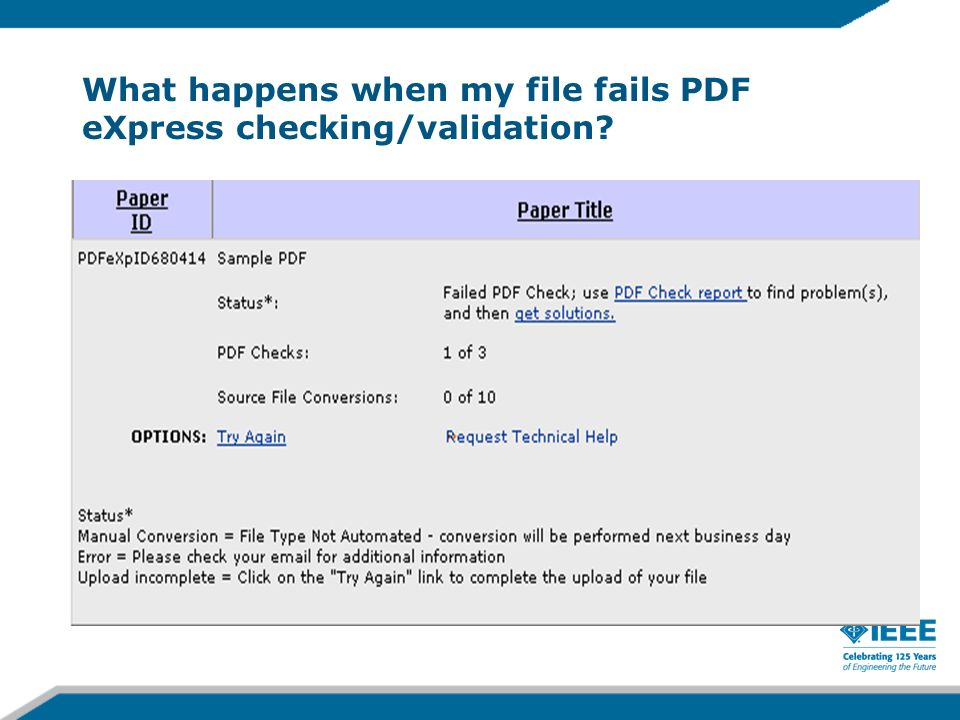 What happens when my file fails PDF eXpress checking/validation