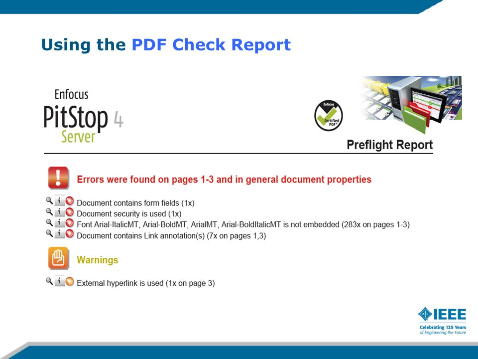 Using the PDF Check Report