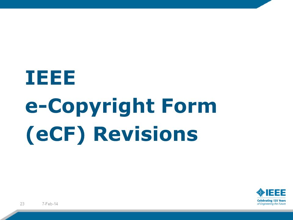 IEEE e-Copyright Form (eCF) Revisions