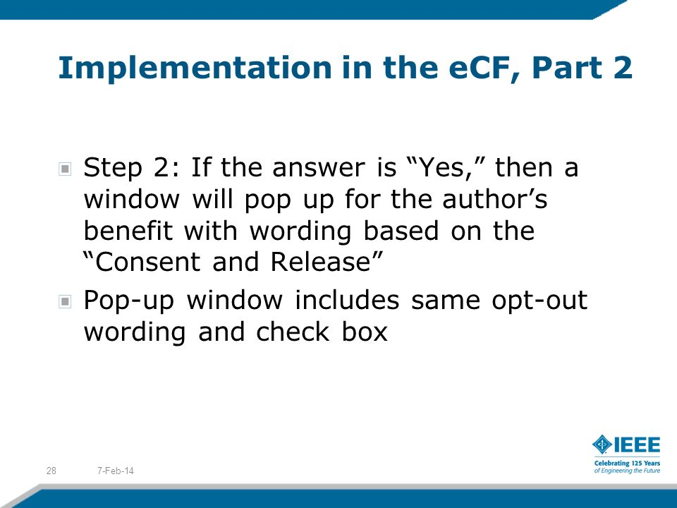 Implementation in the eCF, Part 2
