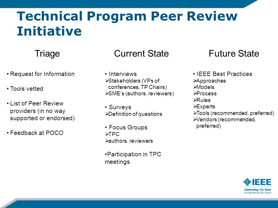 Technical Program Peer Review Initiative