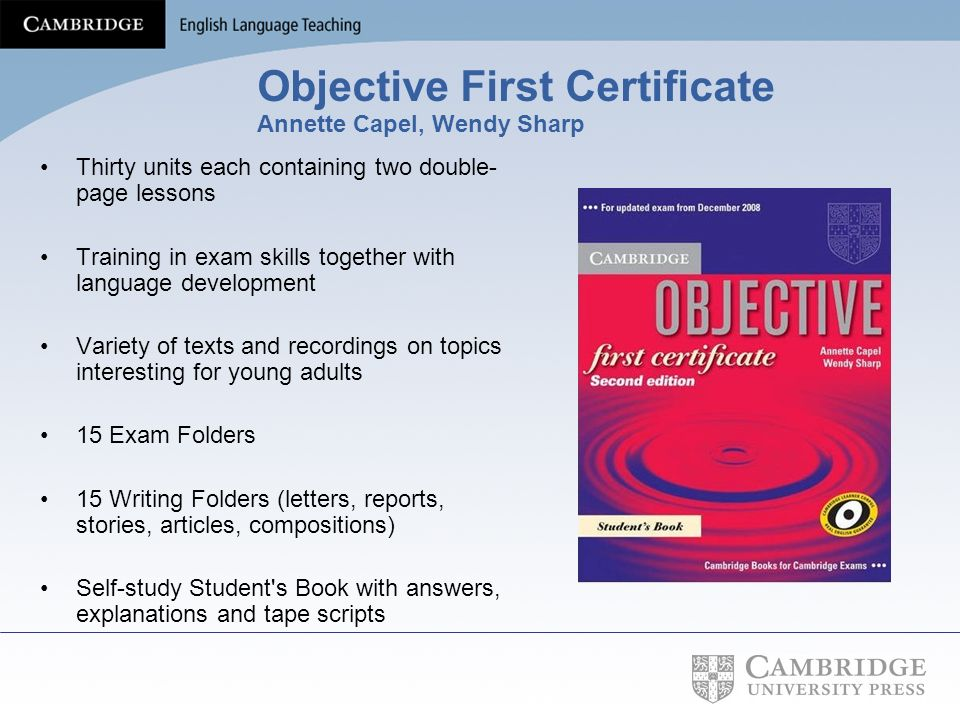 Objective First Certificate Annette Capel, Wendy Sharp