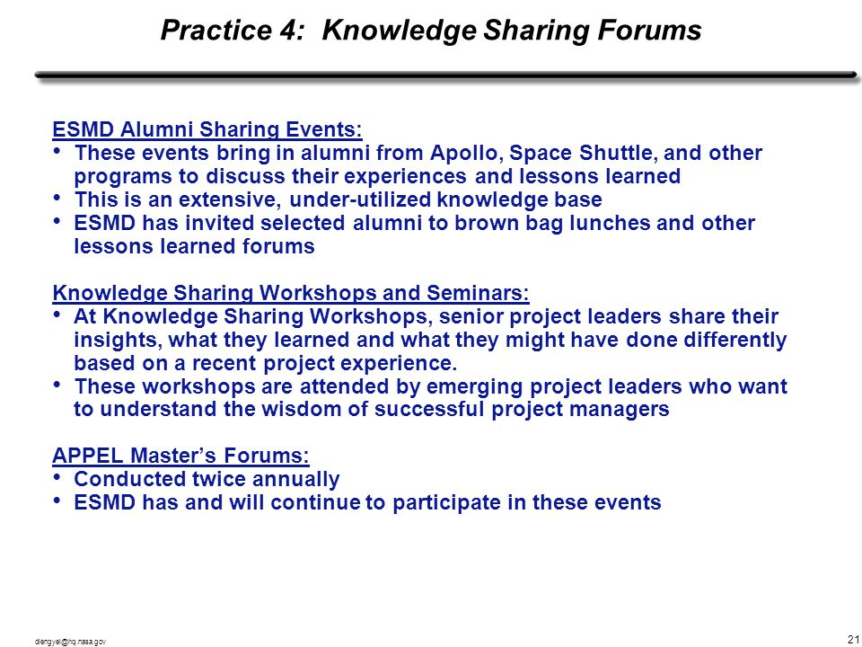 Practice 4: Knowledge Sharing Forums