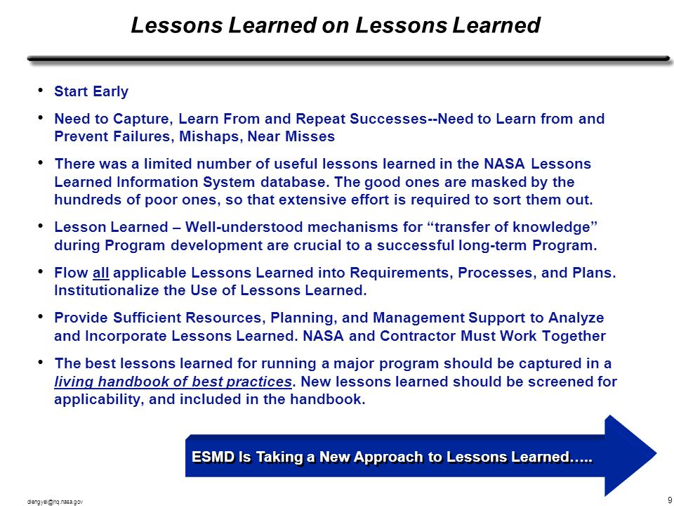 Lessons Learned on Lessons Learned