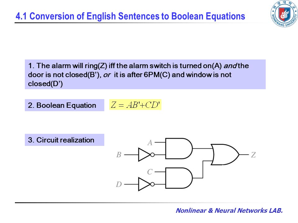 4 1 Conversion of English Sentences to Boolean Equations
