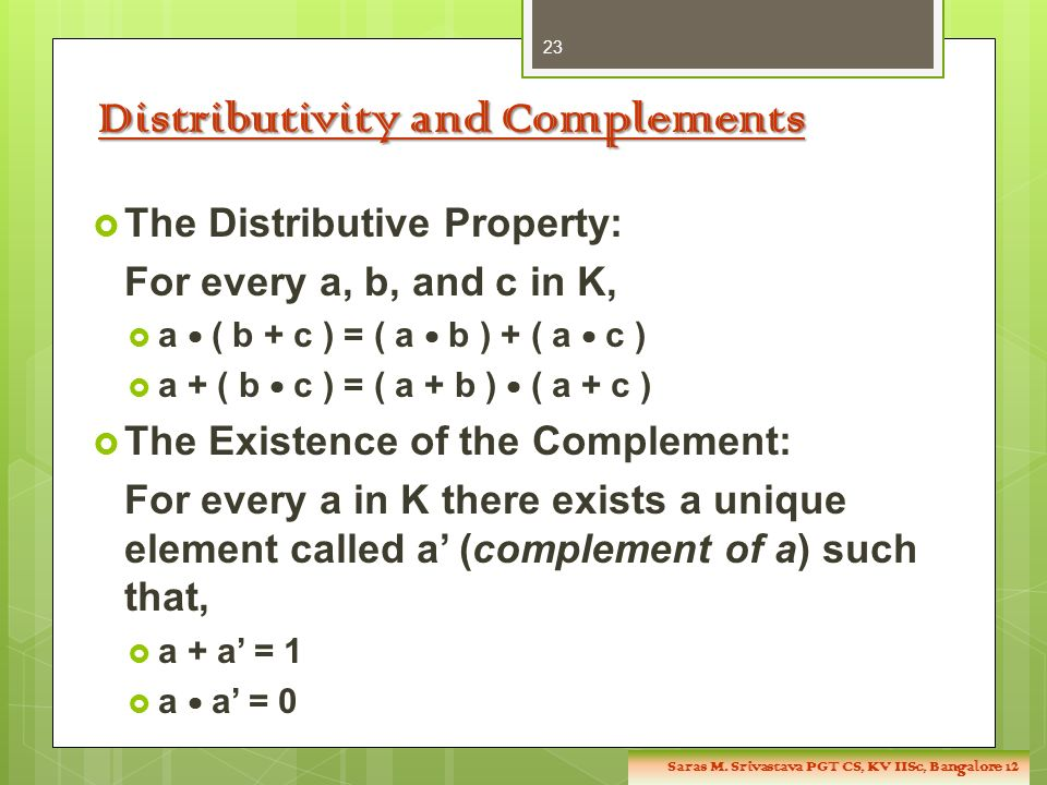 Distributivity and Complements