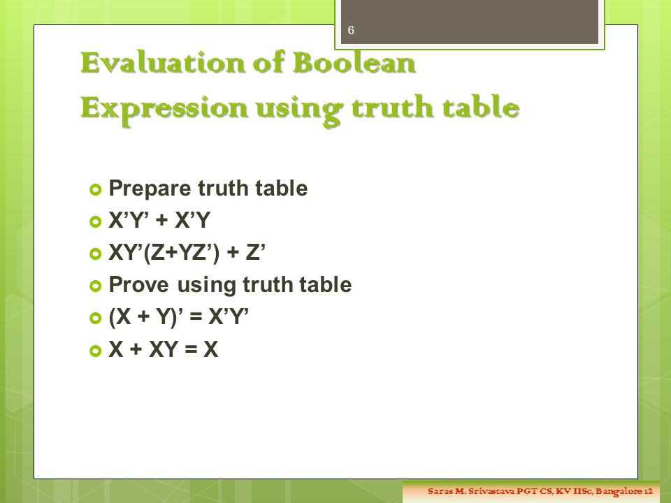 Evaluation of Boolean Expression using truth table