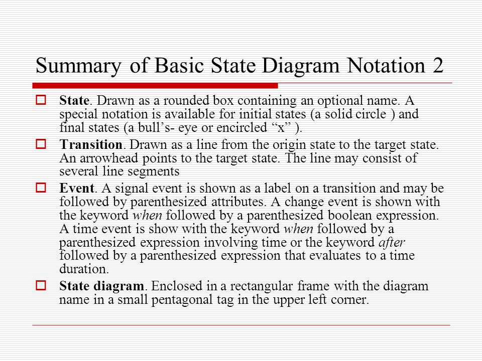 State diagrams a state diagram is a graph whose nodes are states and summary of basic state diagram notation 2 ccuart Image collections