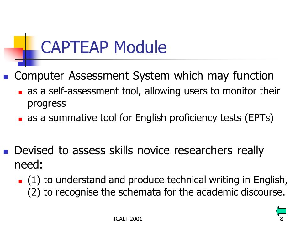 CAPTEAP Module Computer Assessment System which may function