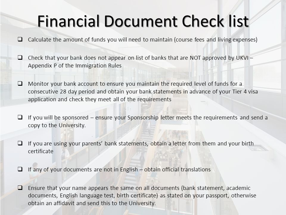 Tier 4 visa maintenance requirements ppt video online download 21 financial document check list spiritdancerdesigns Choice Image
