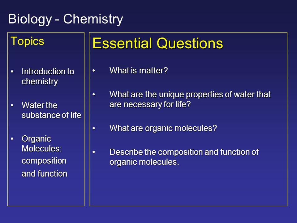 Biology Chemistry Basics Cells Biology The Chemistry Of