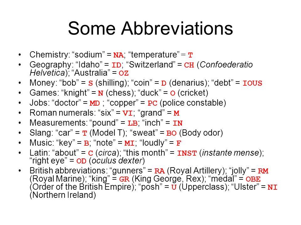 Some Abbreviations Chemistry Sodium NA Temperature T