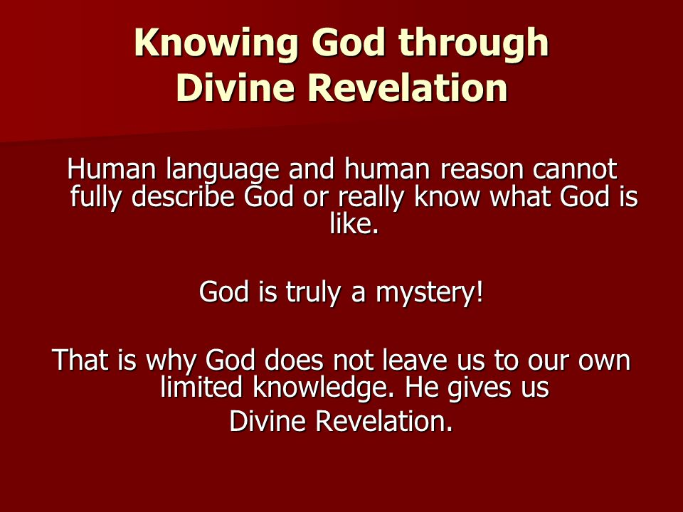 Knowing God through Divine Revelation