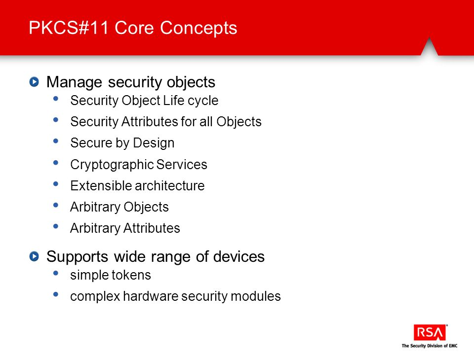 PKCS#11 Core Concepts Manage security objects