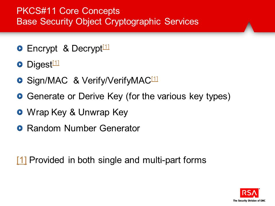 PKCS#11 Core Concepts Base Security Object Cryptographic Services