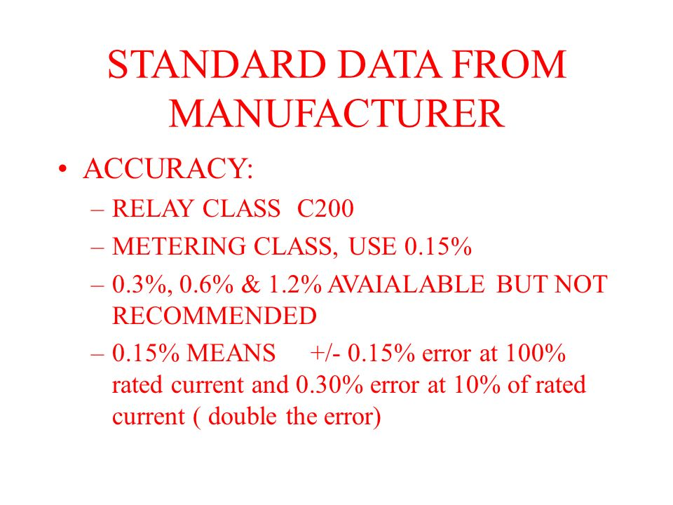 STANDARD DATA FROM MANUFACTURER