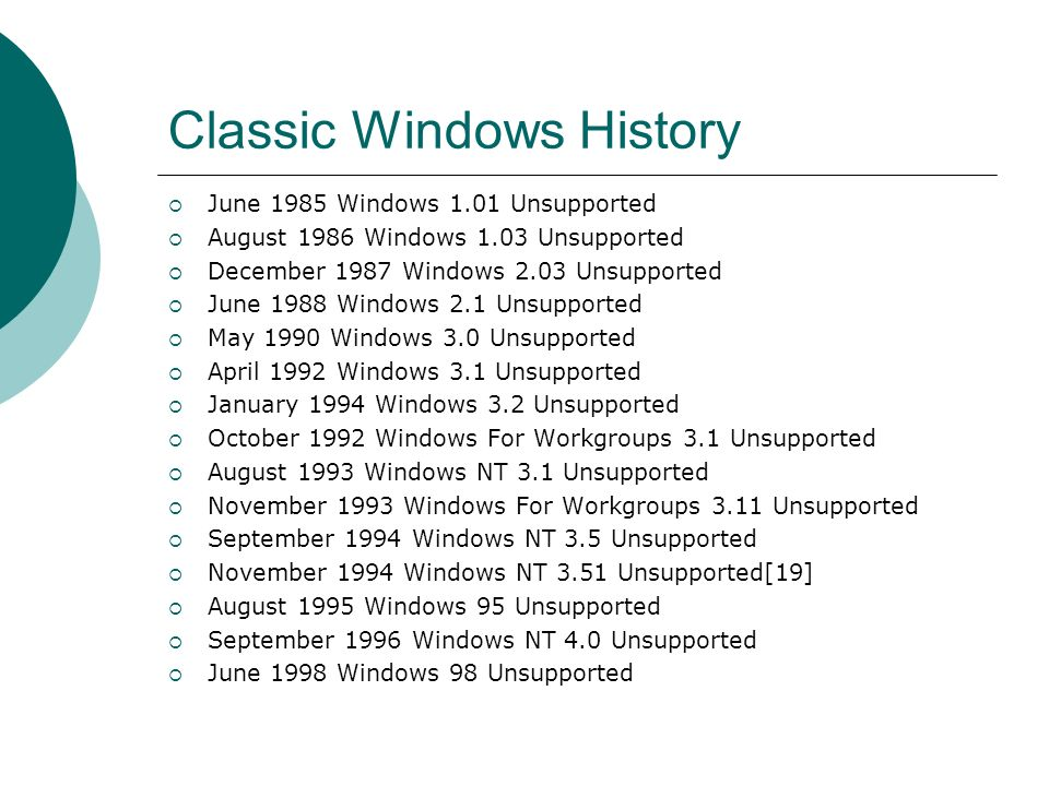 Classic Windows History