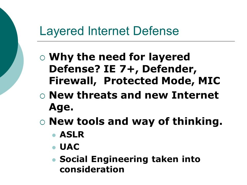 Layered Internet Defense