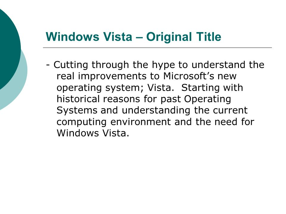 Windows Vista – Original Title