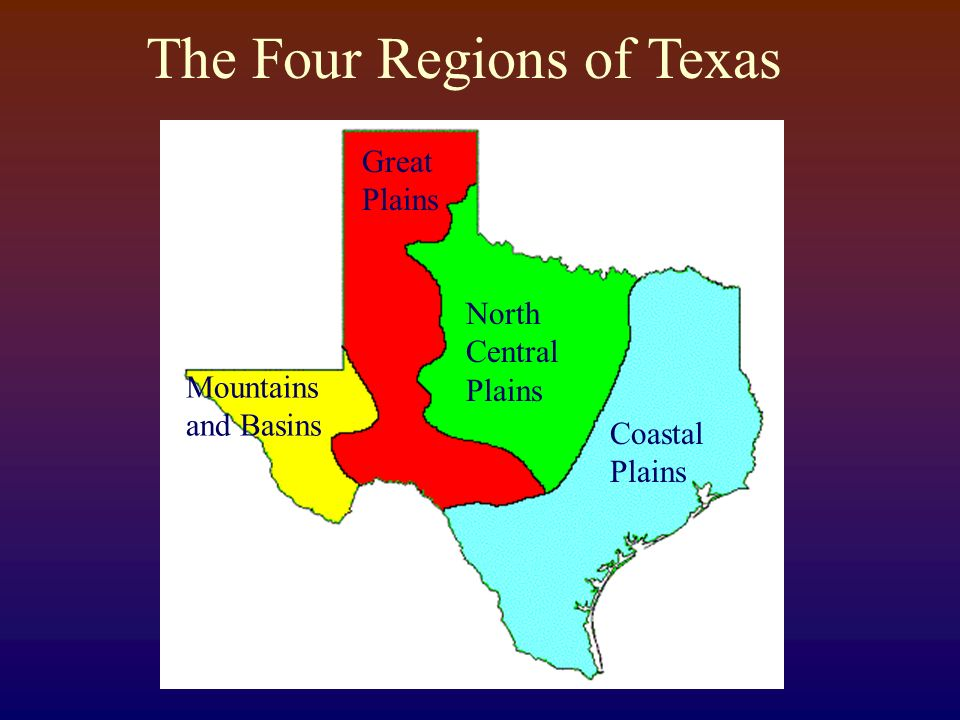 Map Of Texas 4 Regions.The Four Regions Of Texas Ppt Video Online Download