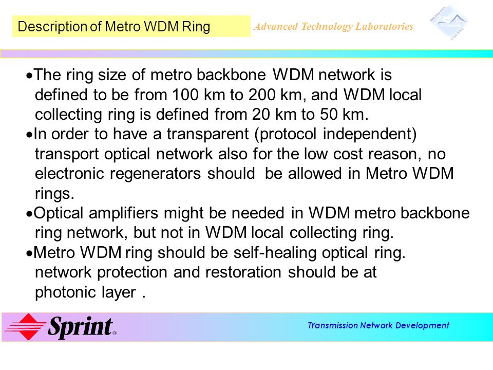 The ring size of metro backbone WDM network is