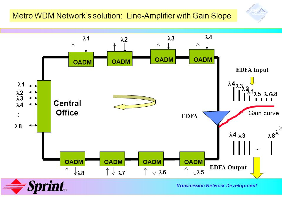 Metro WDM Network's solution: Line-Amplifier with Gain Slope