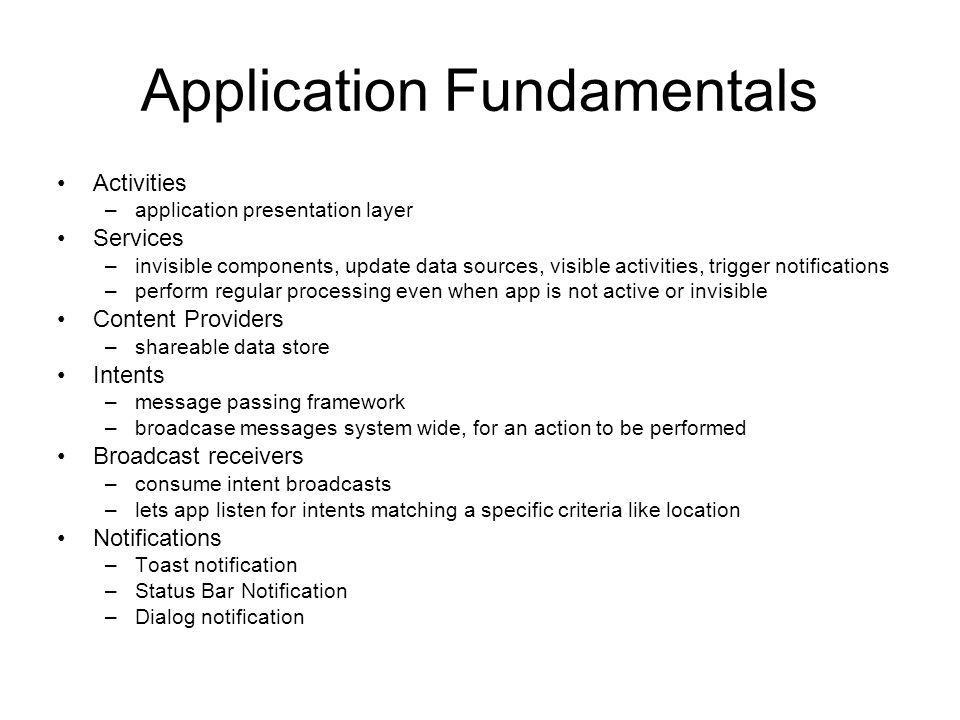 Application Fundamentals