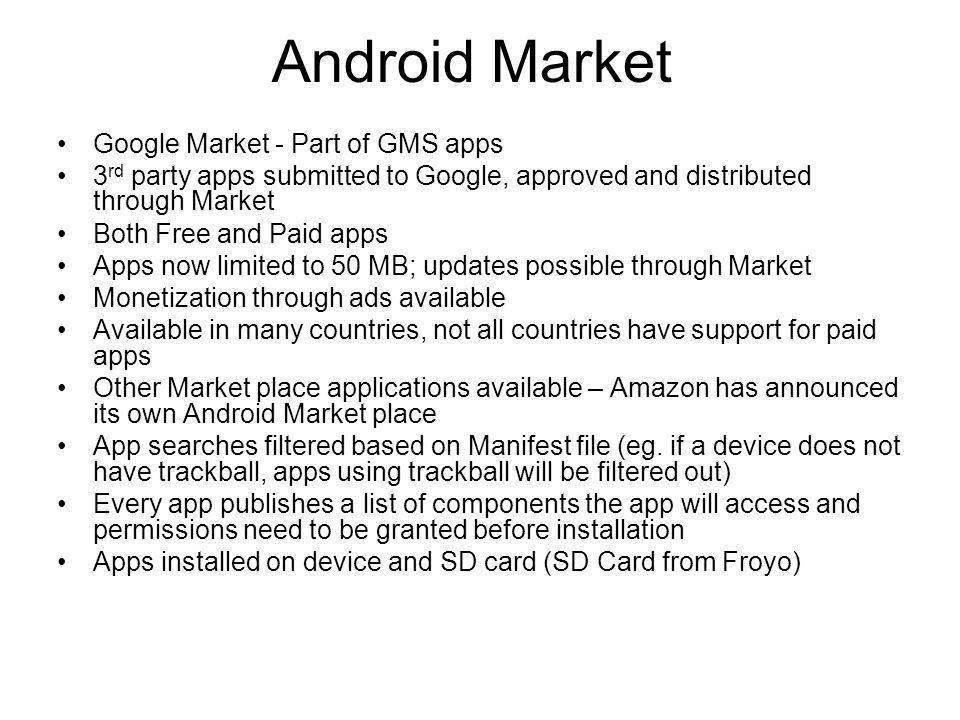 Android Market Google Market - Part of GMS apps