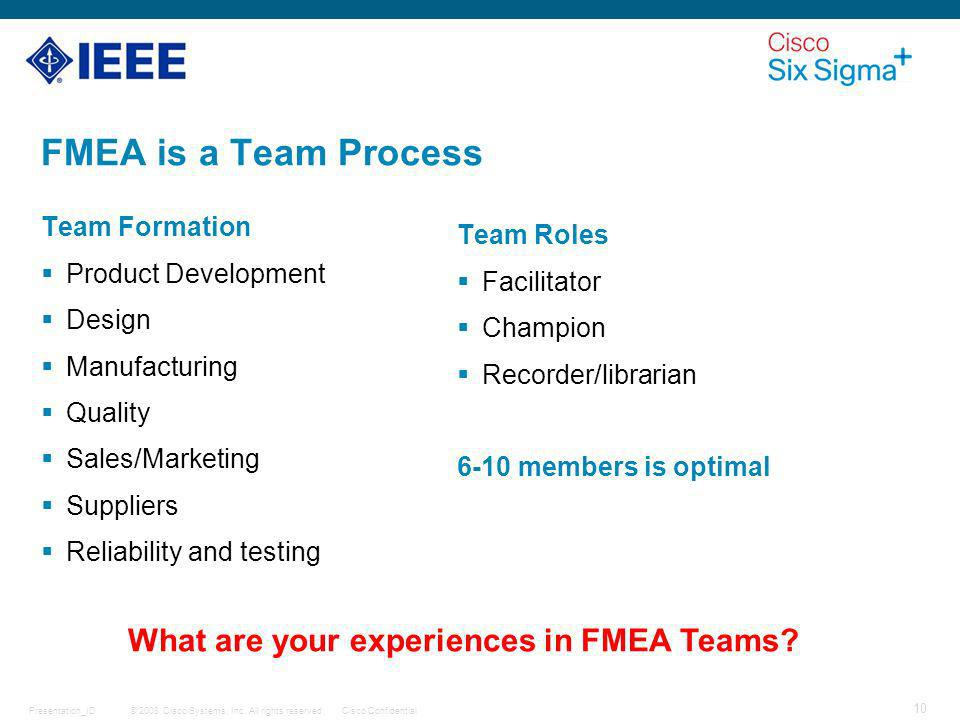 What are your experiences in FMEA Teams