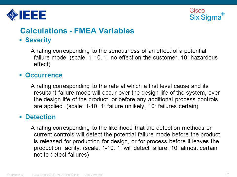 Calculations - FMEA Variables
