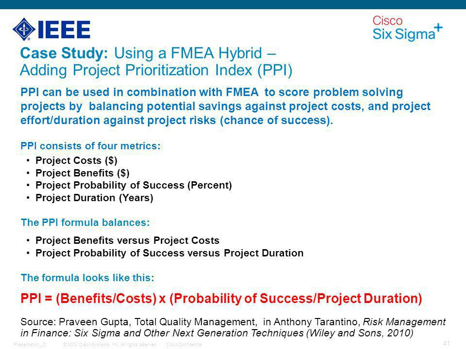 Case Study: Using a FMEA Hybrid – Adding Project Prioritization Index (PPI)