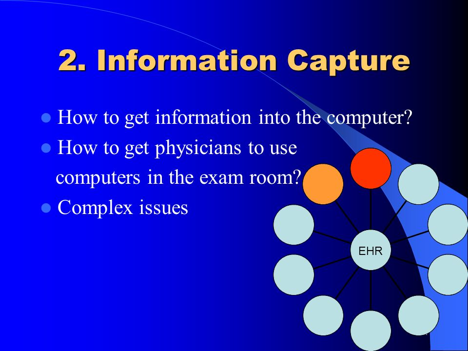 2. Information Capture How to get information into the computer