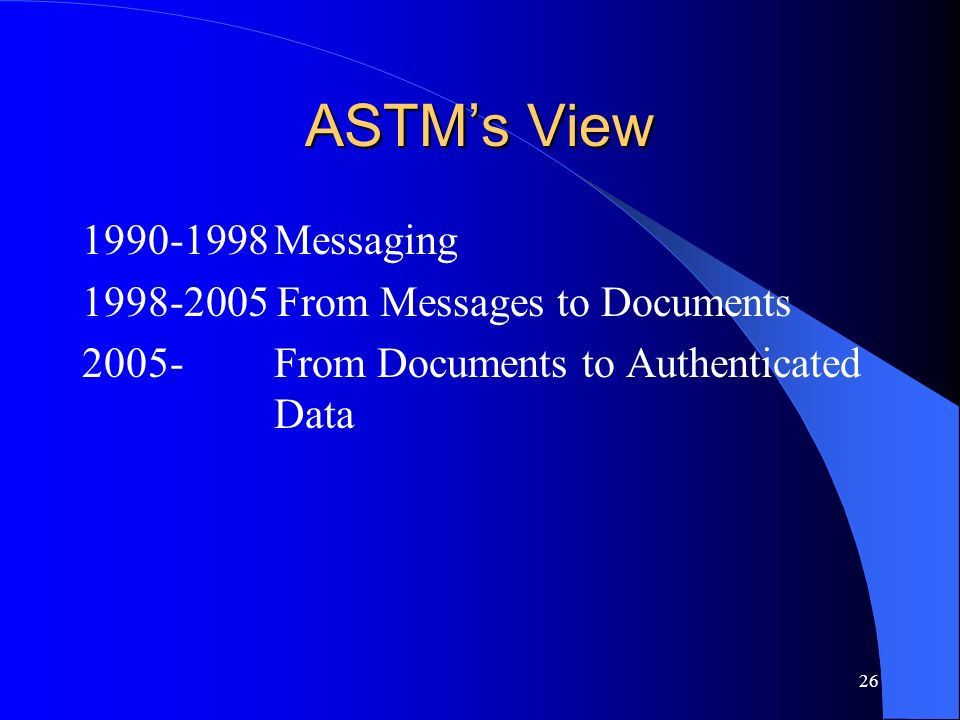 ASTM's View 1990-1998 Messaging 1998-2005 From Messages to Documents
