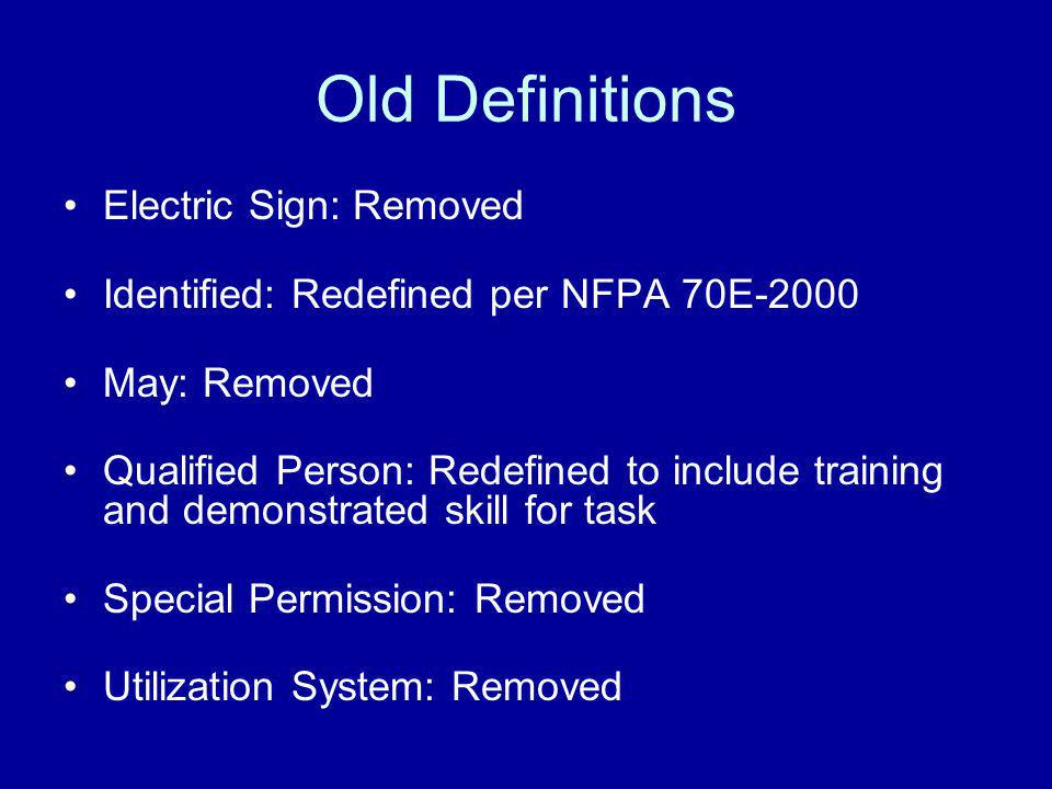 Old Definitions Electric Sign: Removed