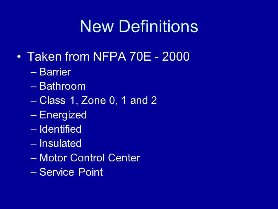 New Definitions Taken from NFPA 70E - 2000 Barrier Bathroom