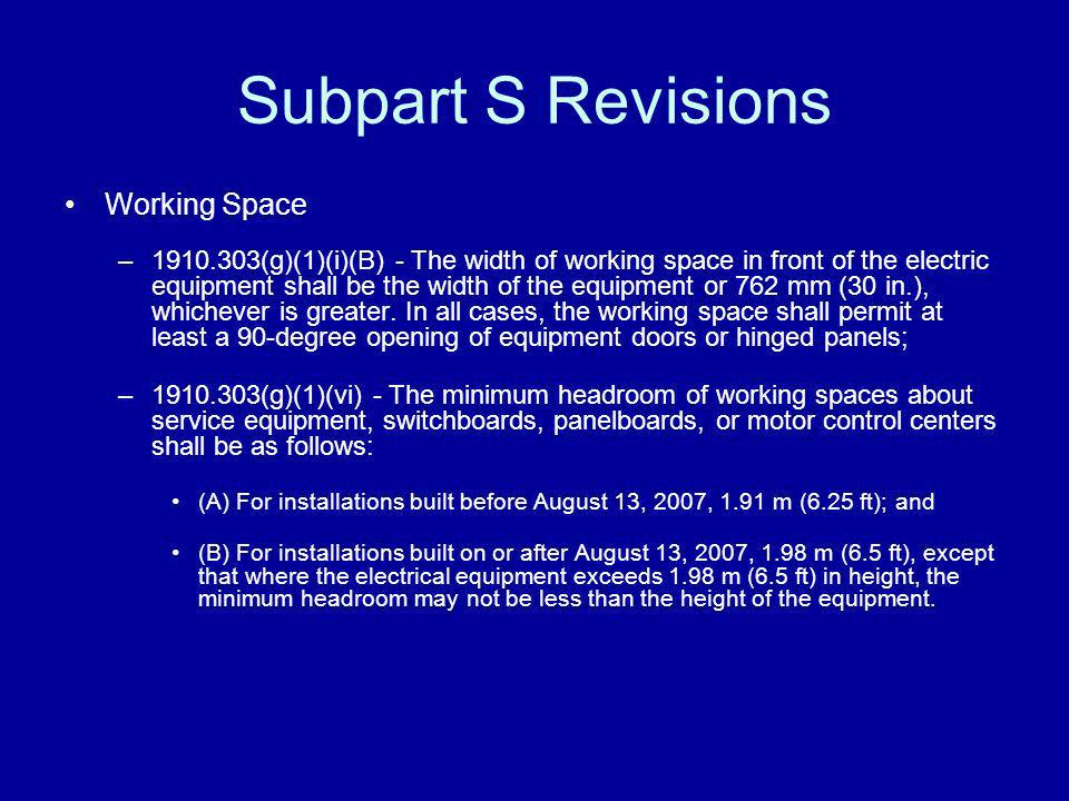 Subpart S Revisions Working Space