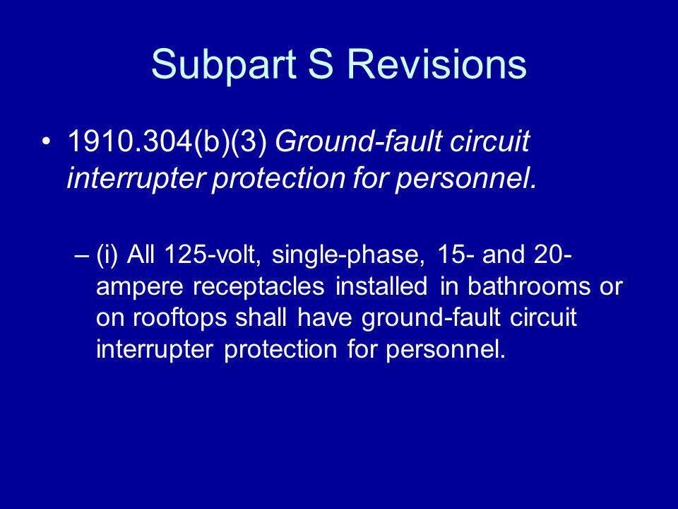 Subpart S Revisions 1910.304(b)(3) Ground-fault circuit interrupter protection for personnel.