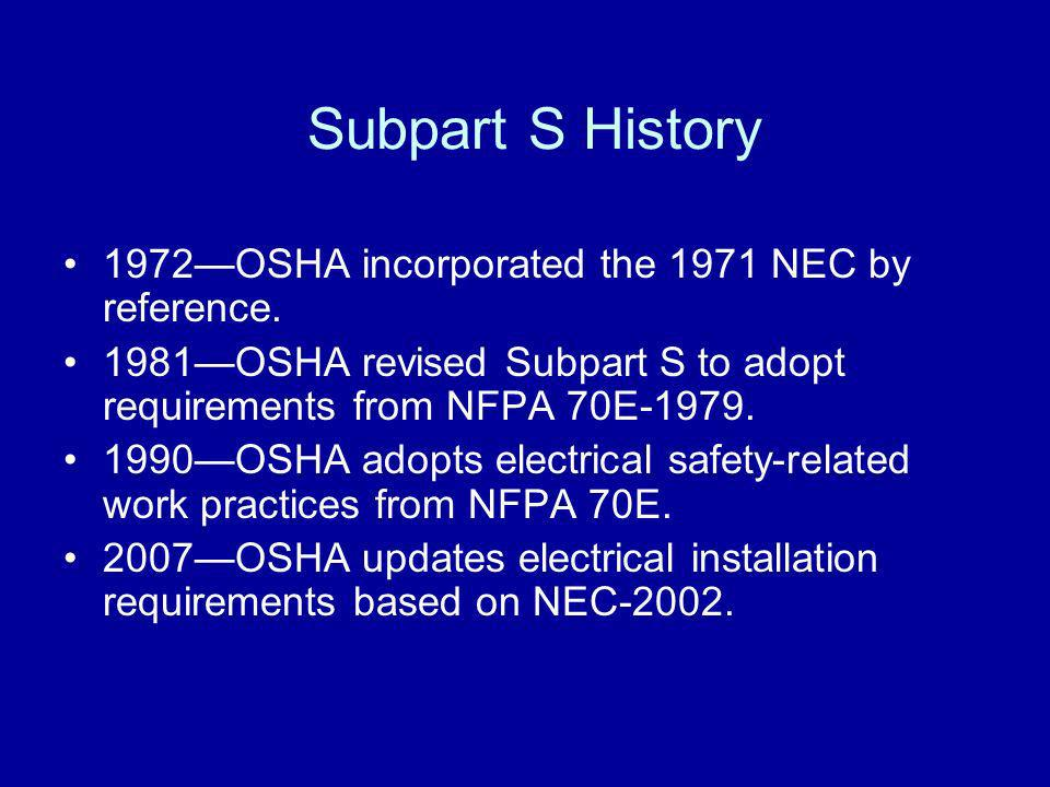 Subpart S History 1972—OSHA incorporated the 1971 NEC by reference.
