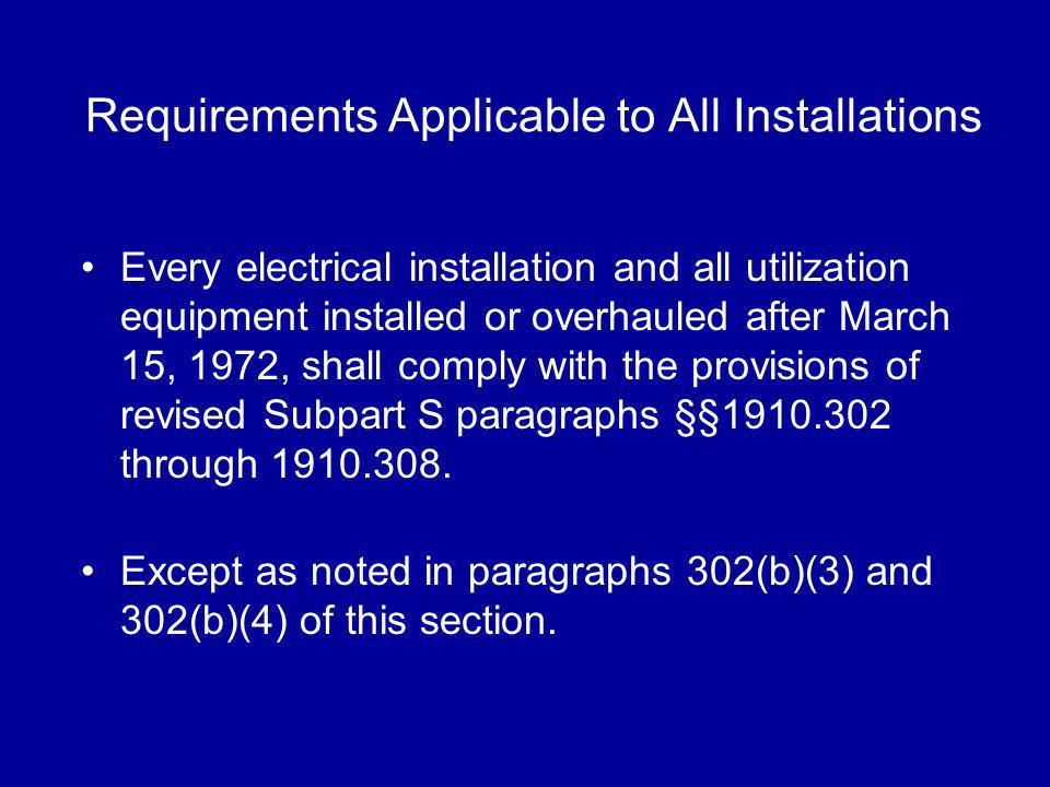 Requirements Applicable to All Installations